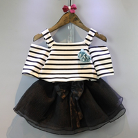 Children wear striped shoulder strap short sleeve T-shirt and skirt suit