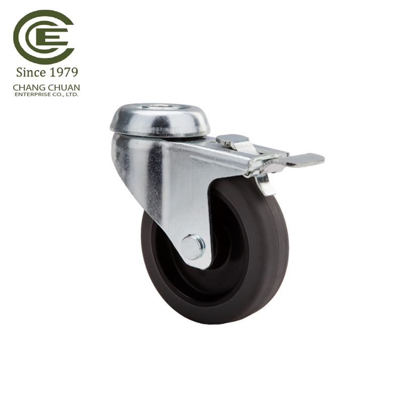 pvc wheelchair threaded stem pvc tpr medical caster wheel with brake hospital