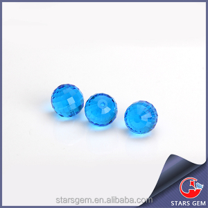 Light blue round faceted glass gems with hole