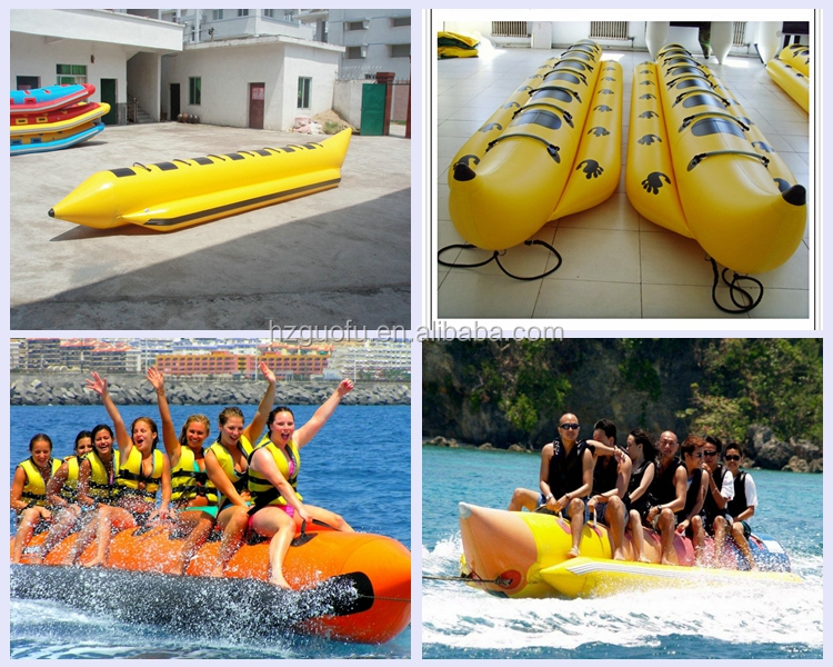 Durable Cheap 3 4 5 6  7 8 10  Rider Commercial Inflatable Banana Ocean Water Ski Boat for Sale
