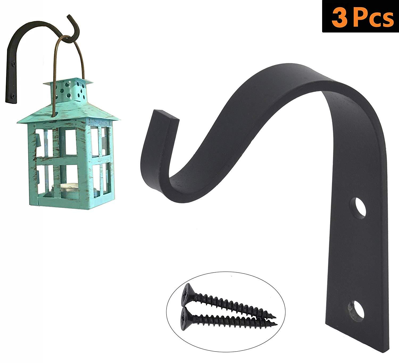 AddGrace Wrought Iron Hooks Decorative Rustic Wall Hook for Hanging Coat & Handbag, Planters Windchimes Lantern (Set of 3)