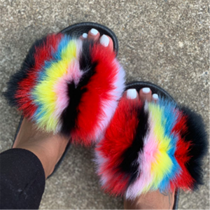 Factory Wholesale Fur Slides Ladies Raccoon/Fox Fur Slippers Women Soft Real Fox Fur Slides