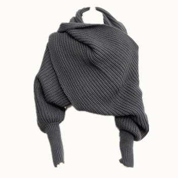 Explosion women wool knitted scarf long shawl scarf with sleeves soild color knitted sweater scarf