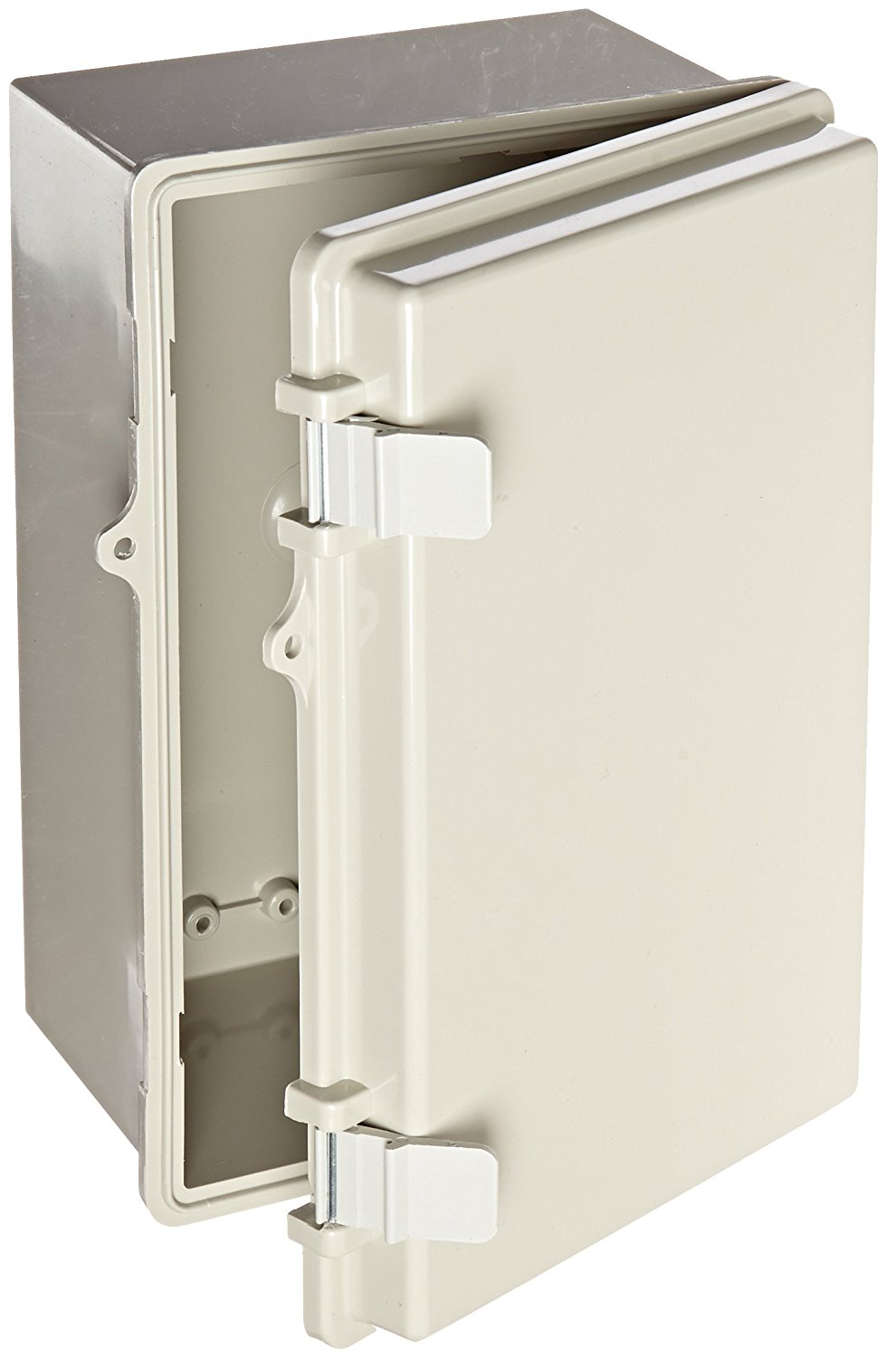 """BUD Industries NBB-10243 Style B Plastic Indoor Box with Solid Door, 11-17/64"""" Length x 7-15/32"""" Width x 5-1/2"""" Height, Light Gray Finish"""