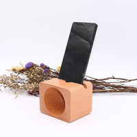 Creative gifts mobile phone holder wood universal mobile phone sound amplifier speaker