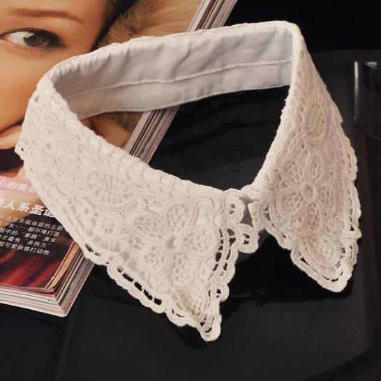 Новые женские винтаж питер пэн съемный воротник ожерелье колье Tie белое кружево для рубашка блузка