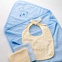 Wholesale China promotion new born baby gift sests,organic cotton baby hooded towel ,bibs,baby wash cloth