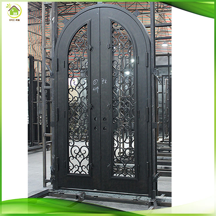 wrought iron door arch top double wrought iron door
