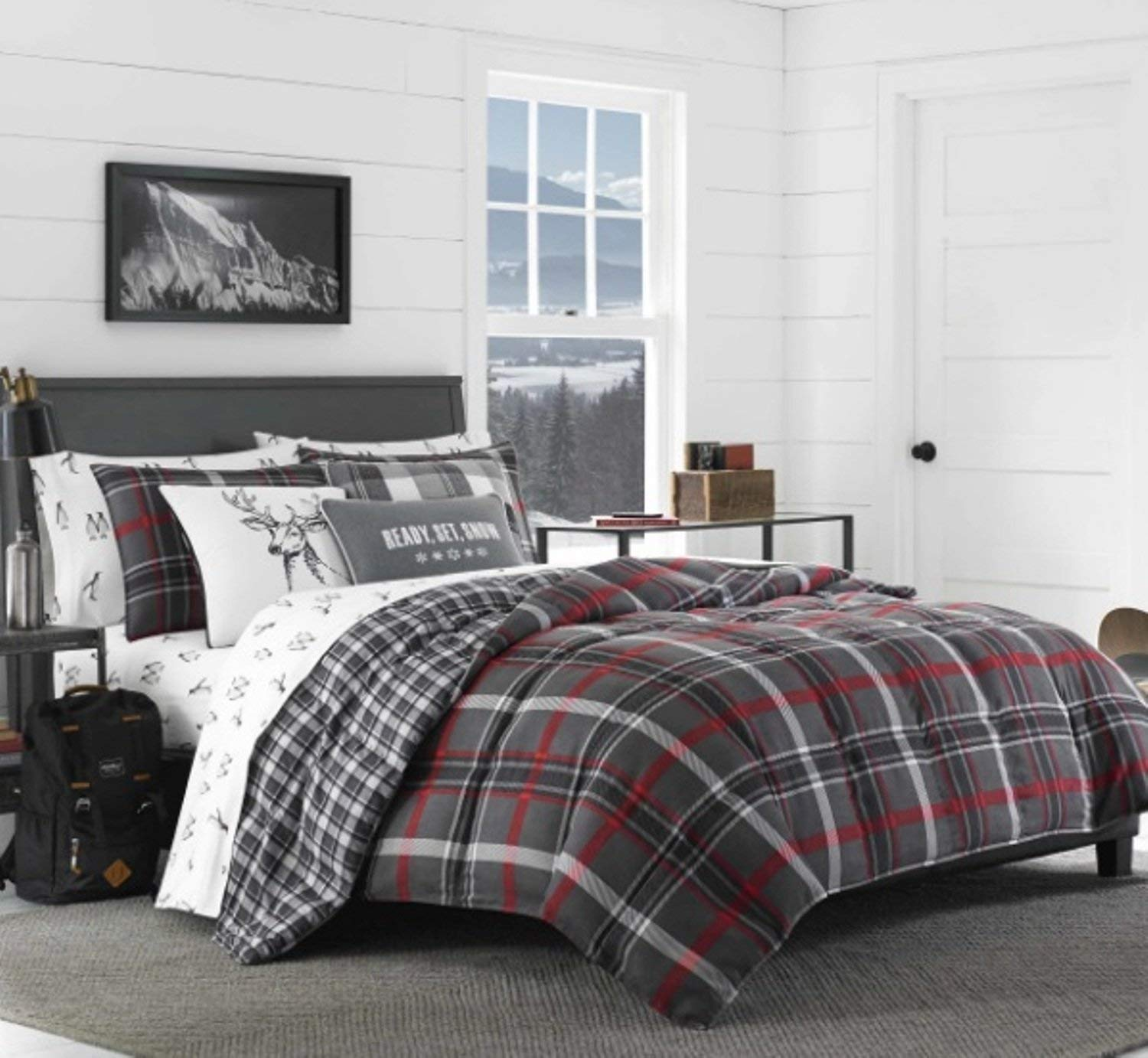 3 Piece Reversible Plaid Patterned Comforter Set King Size, Featuring Horizontal Vertical Lines Deer Design Comfortable Bedding, Stylish Lodge Cabin Inspired Boys Bedroom, Grey, Red, Multicolor