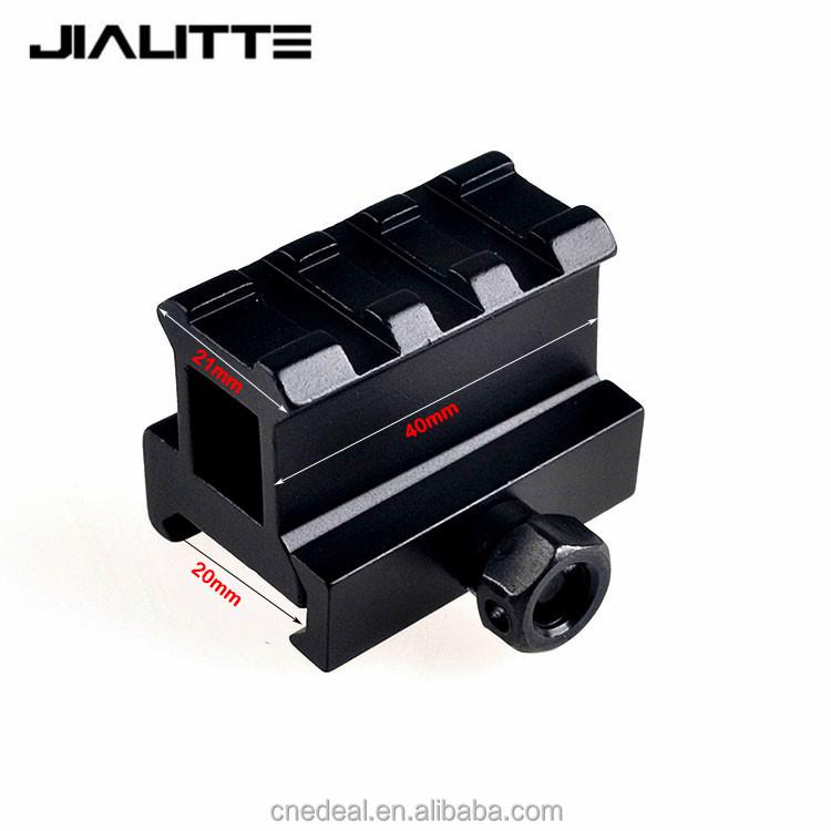 Jialitte Tactical Compact Quick Release Riser Weaver Picatinny 3 Slot High Riser 20mm Rifle Short Base Scope Mount Rail J076, Black