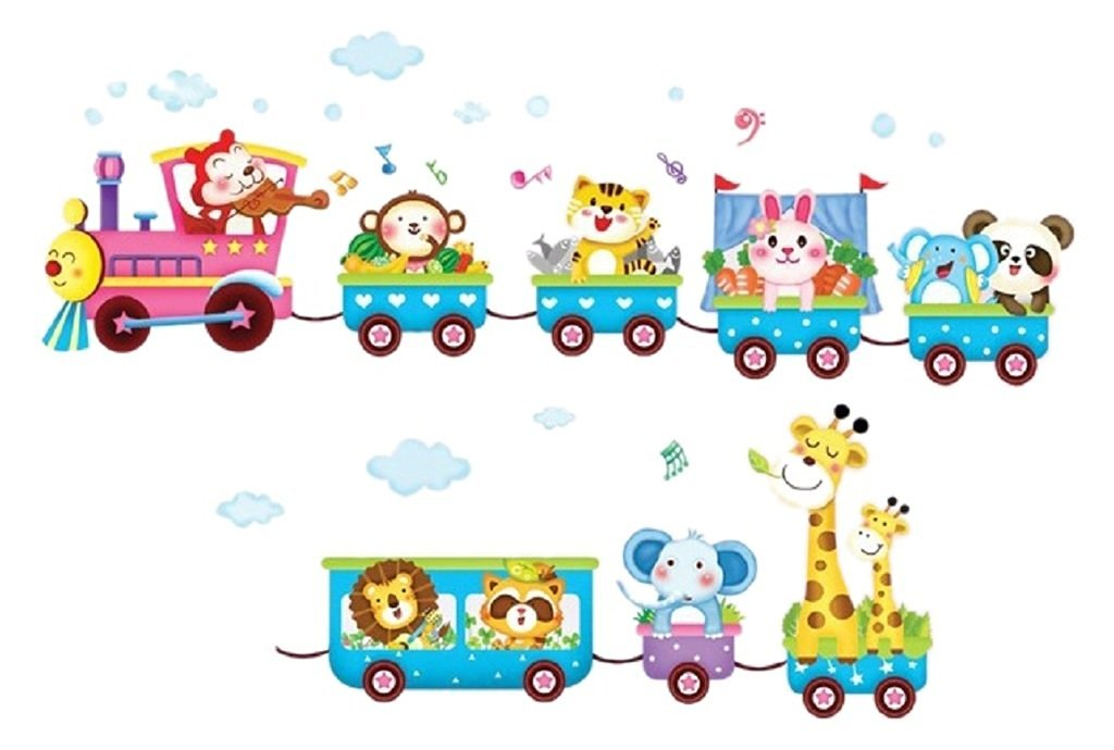 Cartoon Train with Small Animals Wall Decals, Cute Zebra Elephant Deer and Lion, Children's Room Nursery Removable Wall Stickers Murals