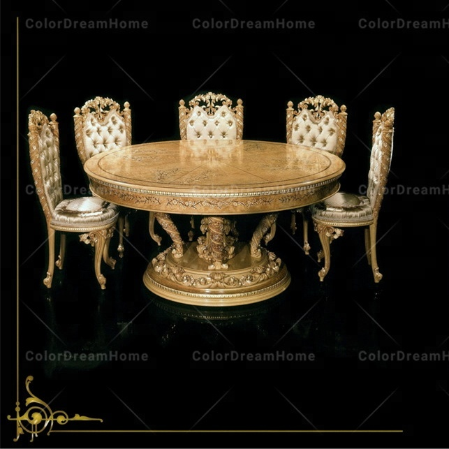 Dubai royal dining room furniture set round dining table with 6 chairs