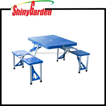 Portable Aluminum Folding Outdoor Heights Adjule Camping Suitcase Picnic Table W 4 Seats