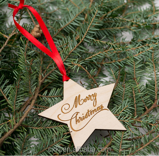 Wooden Christmas DecorationFive Pointed Star Ornaments Hang On Tree