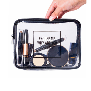 fashion cheap eco beauty girls round travel transparent clear pvc cosmetic bag