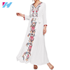 2019 New Fashion Embroidered Tape Flower Print V Neck Long Sleeve Belted Maxi Dress