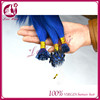 Popular design can you dye bright blue hair girls micro ring hair nice i tip /u tip pre-bonded hair