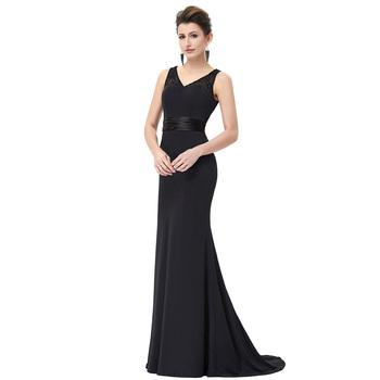 Starzz Floor-length Sleeveless V-neck Black Lace Formal Evening ...