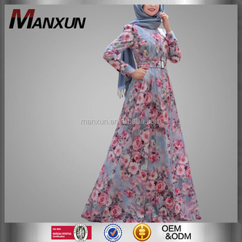 Wholesale New Design Modest Muslim Clothing Islamic Modest Dresses Abaya Islamic Wear Floral Printed Abaya