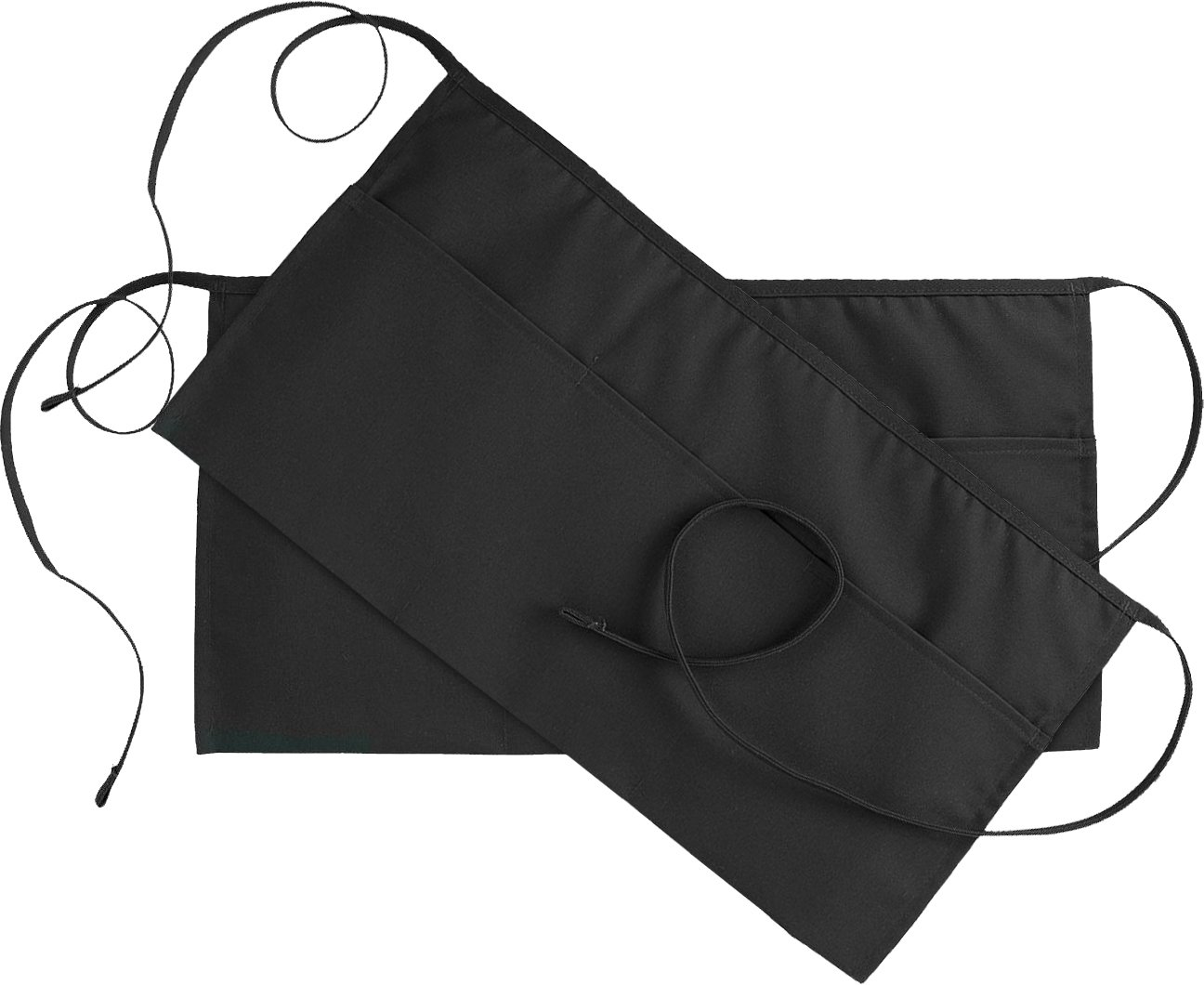 Utopia Wear 3 Pockets Waist Apron (Set of 2, Black, 24 x 12 inches) - Restaurant Half Aprons Men, Women, Chef, Baker, Servers, Waitress, Waiter, Bartender, Craftsmen and Money Apron, Check Holder