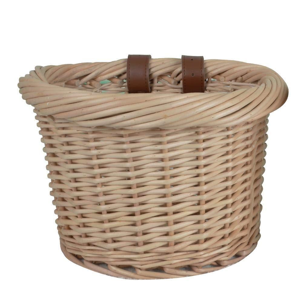 LianLe Wicker Bicycle Front Bike Basket, Handmade Retro Wicker Front Handlebar Bike Basket