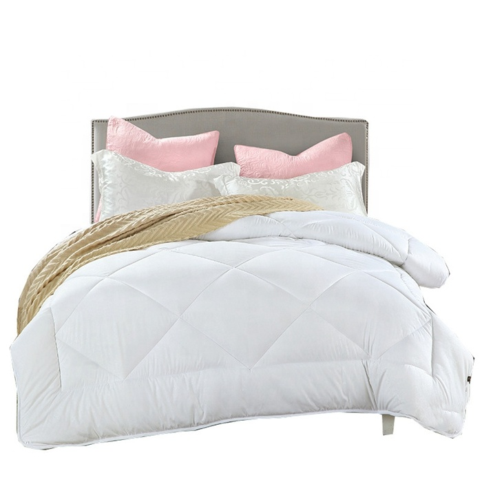 Four Season Queen Size Comforter Hotel Winter Quilt White Grid Microfiber Bed Duvet Cotton Quilt