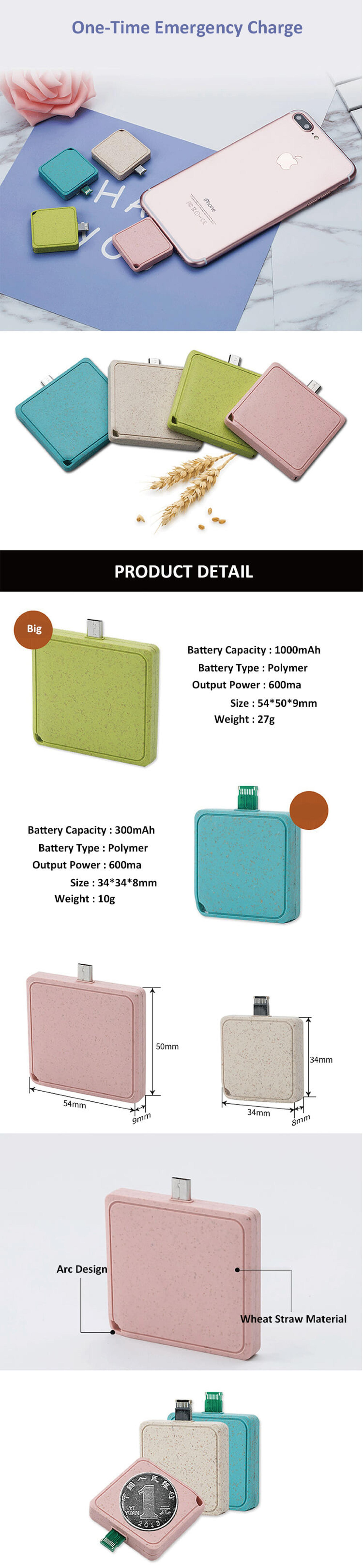 Smallest Cute Onetime Usb Powerbank Small Size Disposable Biodegradable Power Bank 1000 Mah