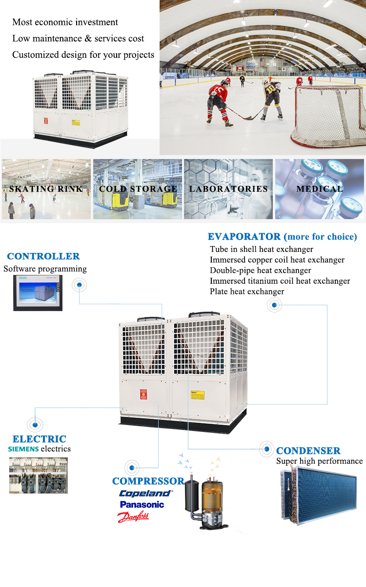 Air cooled low temperature chiller machine unit