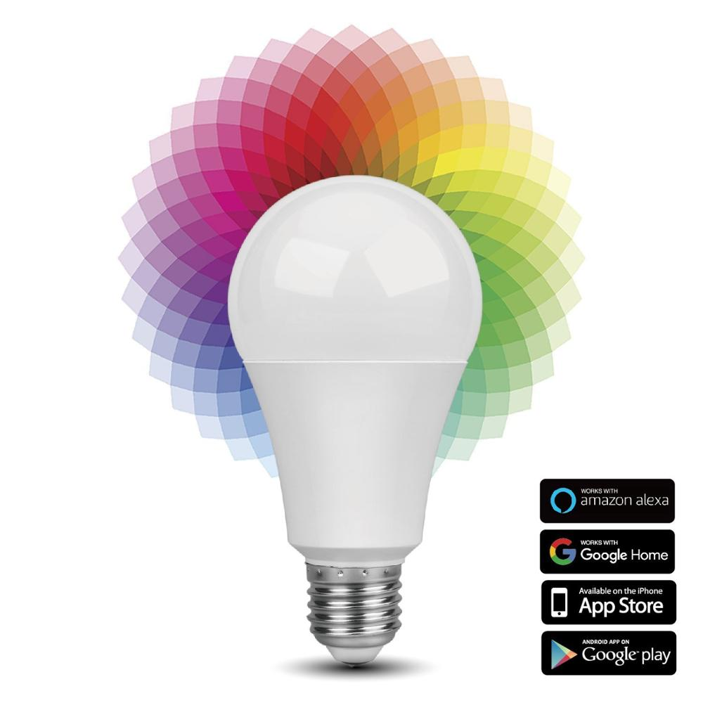 Tuya WiFi LED bulb 9W, Compatible with Alexa and Google Assistant and IFTTT,E27 B22 RGBW Popular Bulb, No Hub Required, Musi