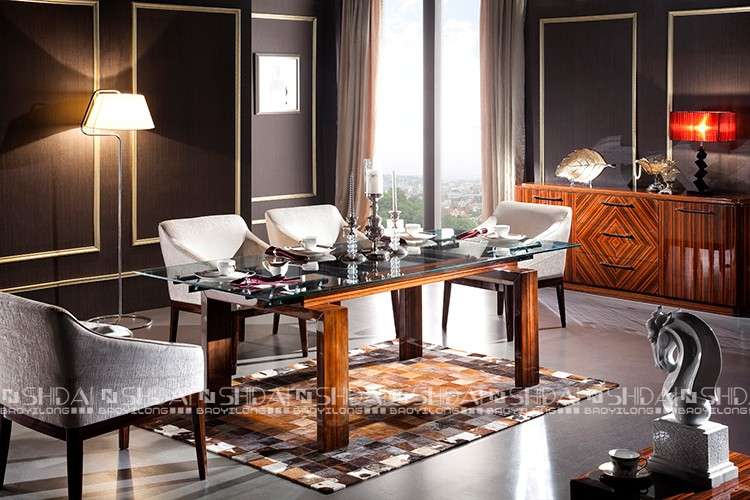 Moderno de vidrio de mesa comedor con sillas 6/comedor de madera ...