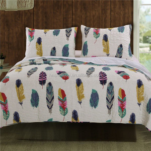 Latest design printing 100% cotton sand washing India quilted kantha bedspread