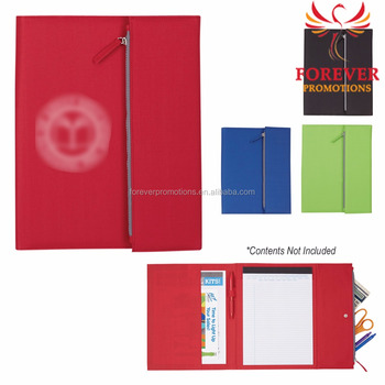 2017 new tri fold zippered polyester multi function padfolio