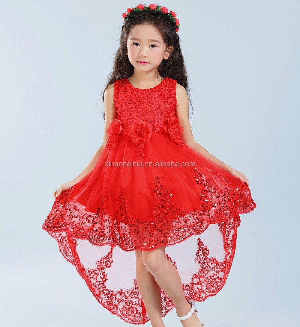Korean red girl baby princess dress Flower girl bridesmaid dresses for kids 1 years baby birthday party Dress with Gilding