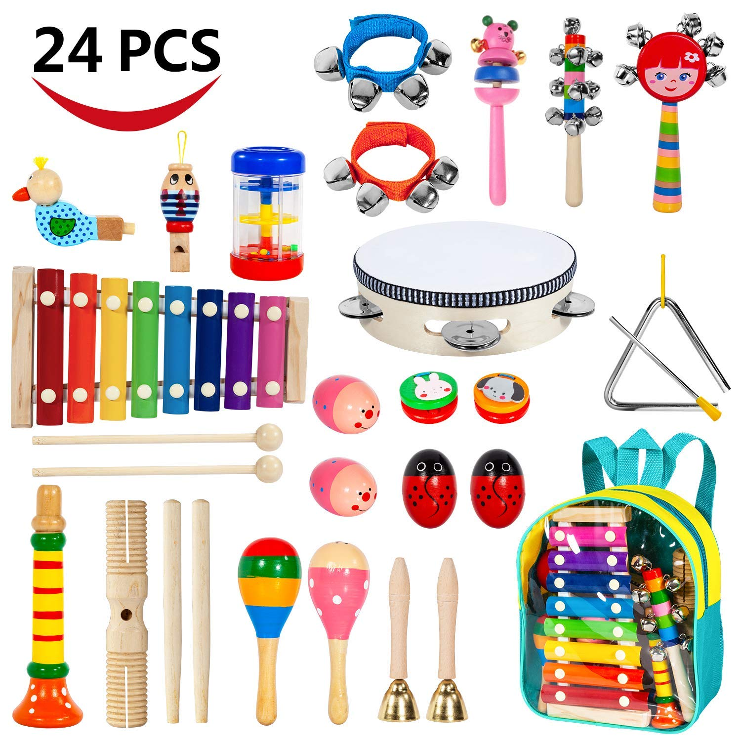 17 Pcs Musical Instruments Sets with Xylophone for Children Childom Kids Musical Instruments 17 Pcs Wooden Percussion Instruments for Kids Preschool Educational