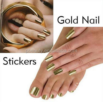 16pcssheet 8sizes Mirror Metallic Adhesive Nail Art Sticker Patch