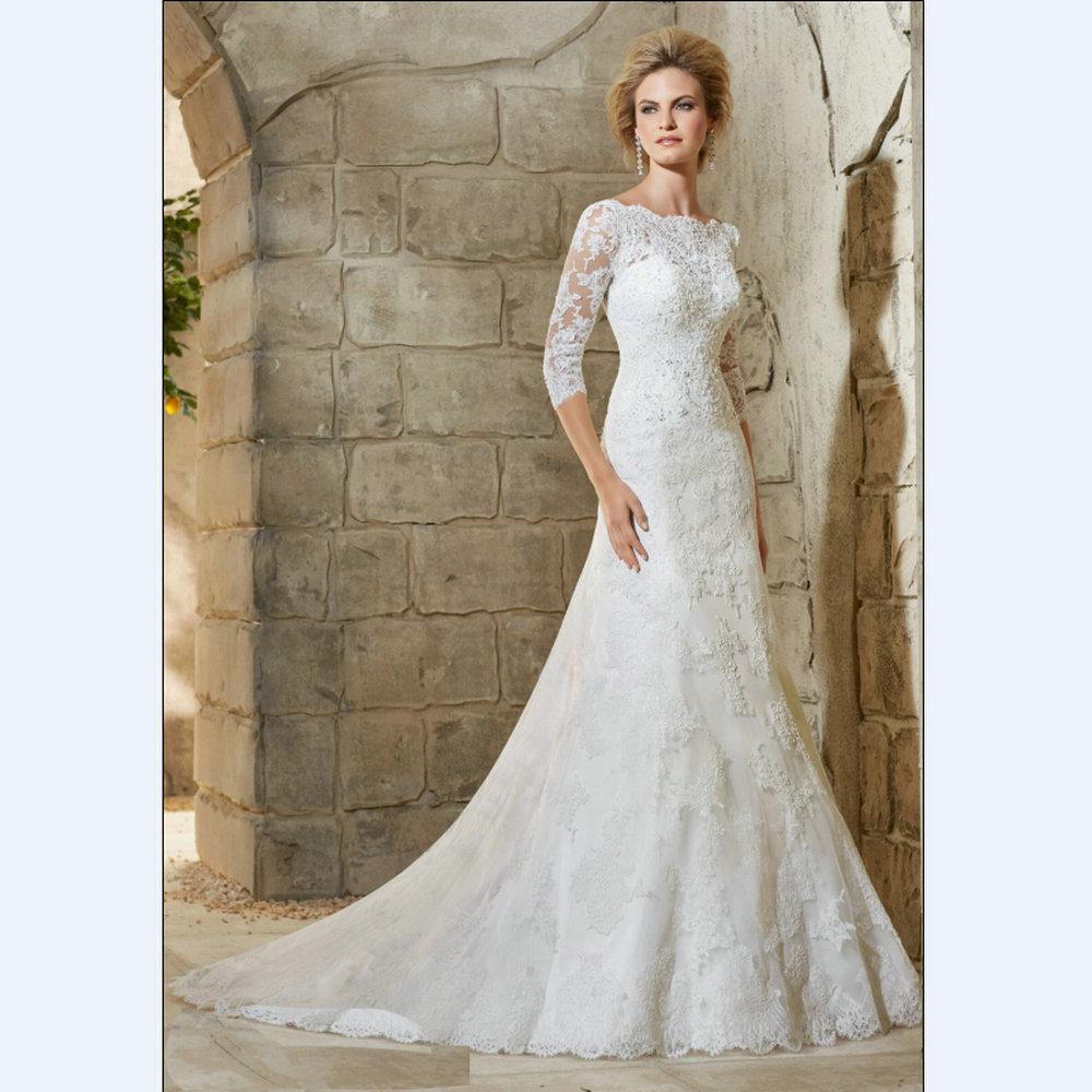 Simple And Elegant Wedding Dresses Boat Neck Three Quarter: White-Lace-Mermaid-Wedding-Dresses-Elegant-Wedding-Gown