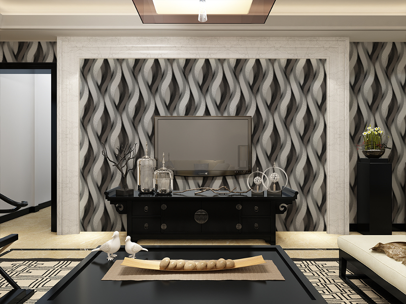 Black Grey White Metallic Texture 3D Wave Wallpaper Vinyl Quality Modern Luxury Wall Paper Roll