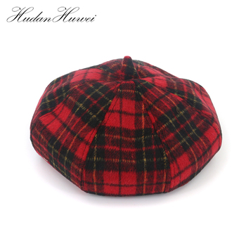 Classic Festival Grid England Red checked Lady Romantic Bowler Wool Berets