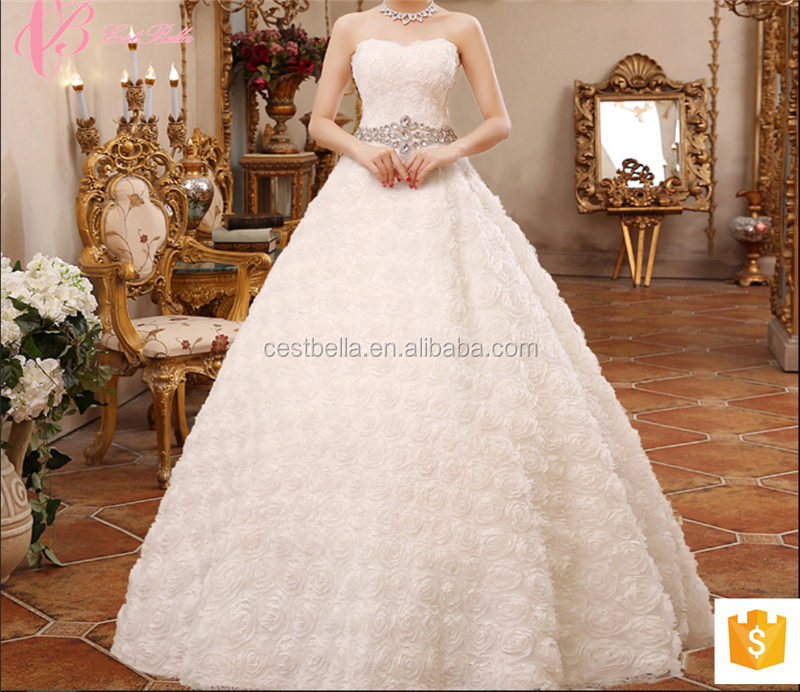 2017 White Simple Designer Beaded Ball Gown Wedding Dresses