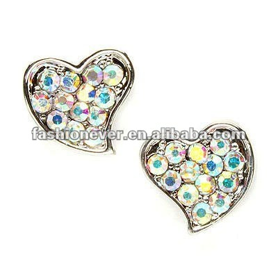 Sparkle Crystal Curved Heart Shape 10mm Small Stud Earrings