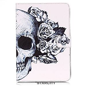 iPad Air 2 Case, StarCity ® Apple iPad Air 2 Case [2nd Generation] 2014 Release - Premium Folio Flip PU Leather Case Stand Cover [Flexible TPU Interior Cover] For Apple iPad Air 2 (Skull Flowers)