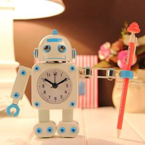 (Random Color) Robot Alarm Clock Mute Creative Clock Clips Wrench Home Decorative Clock Kid Toy Gift / . : . Creative Robot Mute Alarm Clock . . The eyes will shine when the alarm is ringin