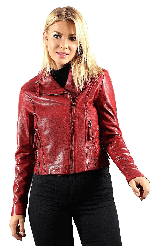 SID Mens Light Red Robotic Design Lambskin Leather Jacket Biker Jacket