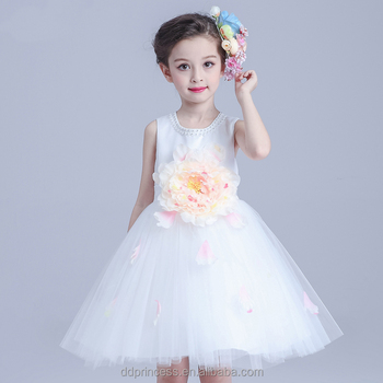 2017 Beads Kids Clothing Models Big Flowers White Lovely Kids Gown ...
