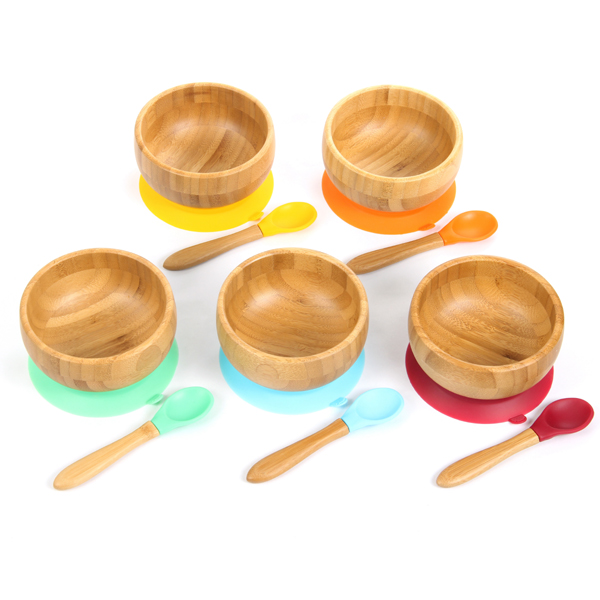 Baby Feeding Plate and Spoon Setl and Stay Put Suction Ring bamboo baby products