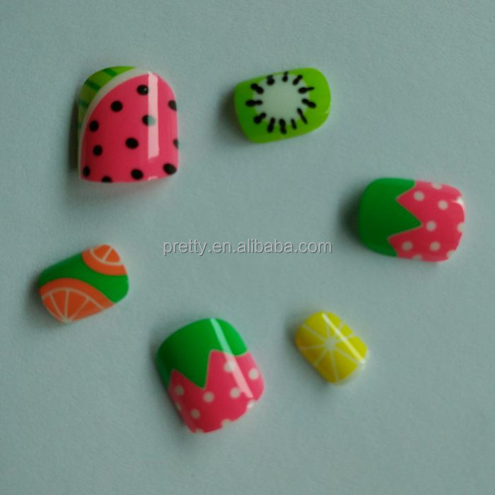24pcs Abs Material Fake Nails For Kids Fruit Design Press On Nails ...