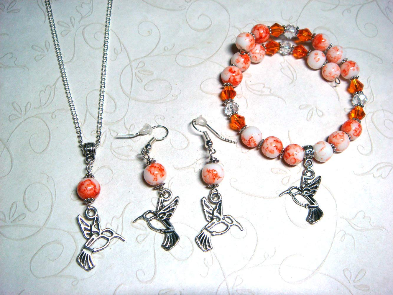 Hummingbird Jewelry Set, 3-Piece Jewelry Set, Orange & White Watercolor Glass Beads, Hummingbird Bracelet, Pierced Dangle Earrings, Necklace, Gift for Her, Jewelry Set for Women, Totem Spirit Animal