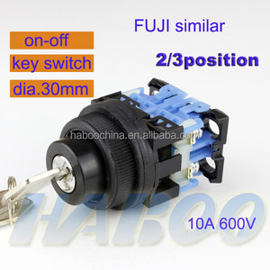 2 position or 3 position key lock selector operated push button switch 10A 600V
