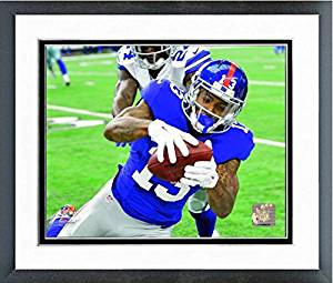 "Odell Beckham New York Giants 2016 NFL Action Photo (Size: 18"" x 22"") Framed"