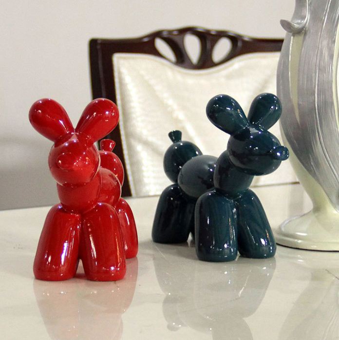 Ceramic Balloon Dog Decorative Animal Figurine Ornament-Red